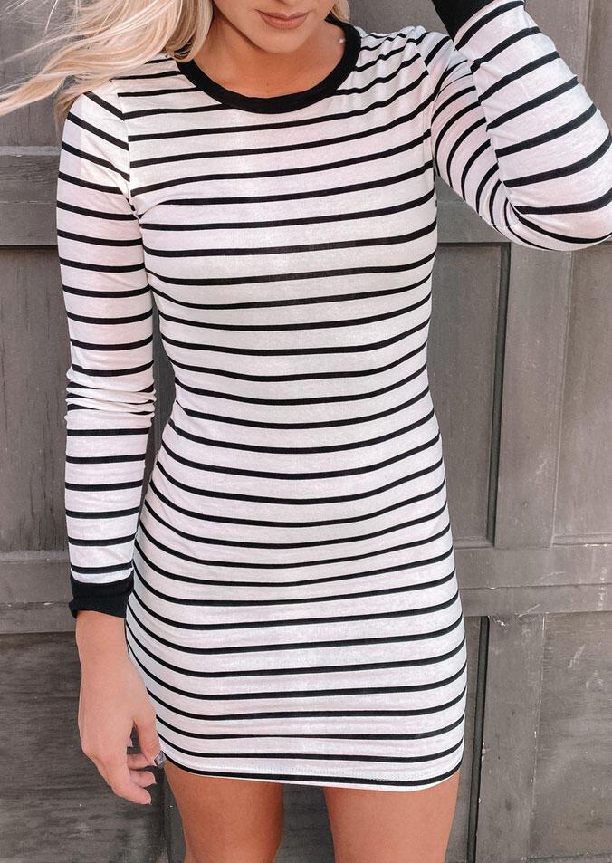 Striped O-Neck Long Sleeve Bodycon Dress