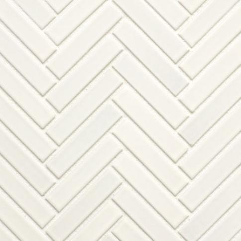 matte white mini herringbone glazed porcelain mosaic