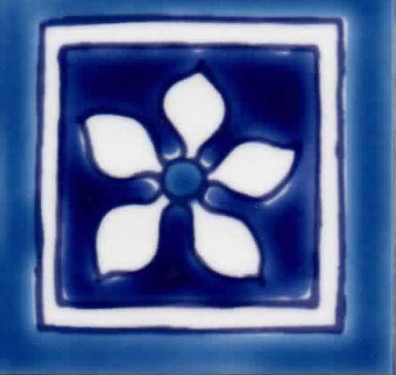 yuma blue cabochon ceramic tile 2x2 corner