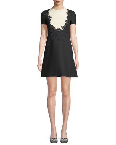 Short-Sleeve Crepe Couture Dress with Lace