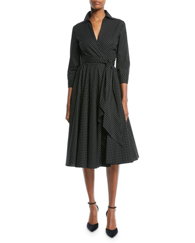 3/4-Sleeve Pindot Stretch-Poplin Wrap Dress