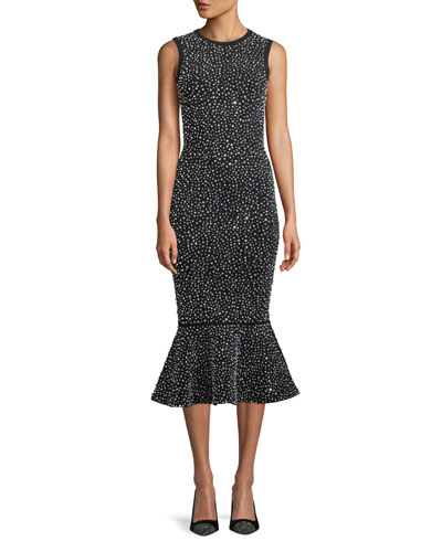 Sleeveless Crystal-Embroidered Stretch-Viscose Trumpet Cocktail Dress