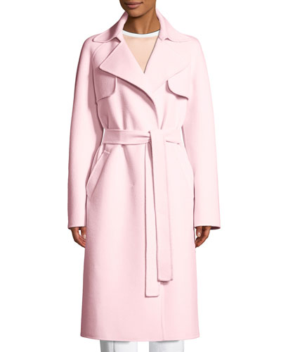 Belted Wool-Blend Trench Coat