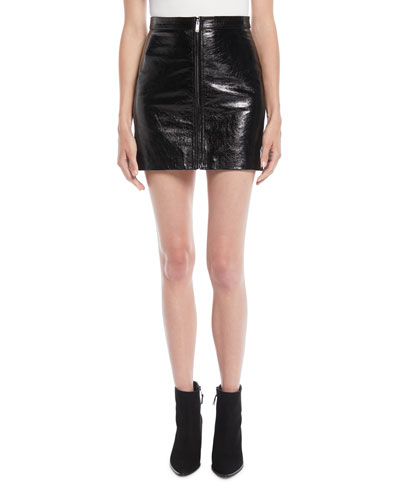 Crackled Leather Zip-Front Mini Skirt
