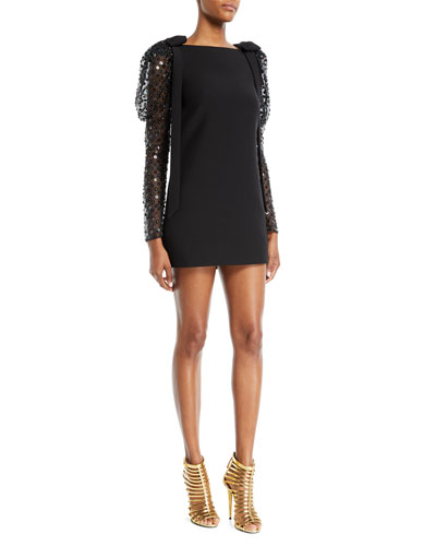 1cf2217540602 Embellished-Sleeve A-Line Crepe Couture Cocktail Dress
