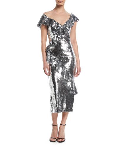 d3661a1367c8 Illusion-Neck Slim Tea-Length Cocktail Dress w Asymmetric Ruffle Detail