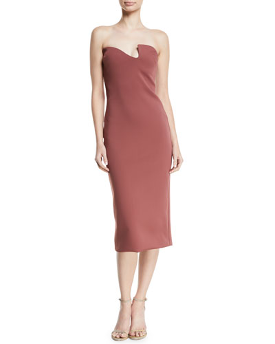 Asymmetric-Neck Strapless Fitted Neoprene Midi Cocktail Dress