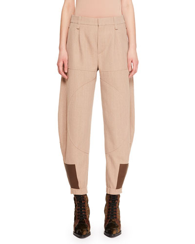 Cinch-Ankle Tapered-Leg Patch-Detail Wool-Blend Pants