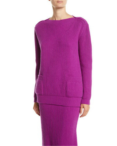 Boat-Neck Long-Sleeve Ribbed Wool-Cashmere Pullover Sweater