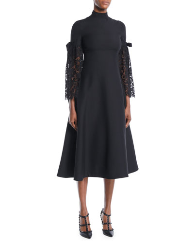 Heavy Lace Sleeve Empire-Waist Crepe Couture A-Line Mid-Calf Cocktail Dress