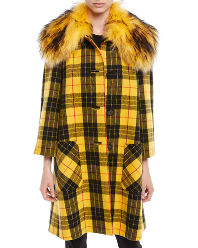 Button-Front Plaid Wool Coat w/ Faux-Fur Collar