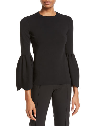 Crewneck 3/4 Flare-Sleeve Knit Top