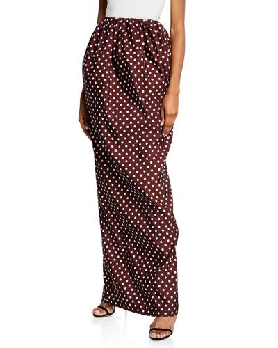 1c7215f0145 High-Waist Polka-Dot Maxi Skirt