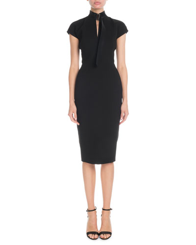 Slash-Front Cap-Sleeve Fitted Midi Crepe Dress
