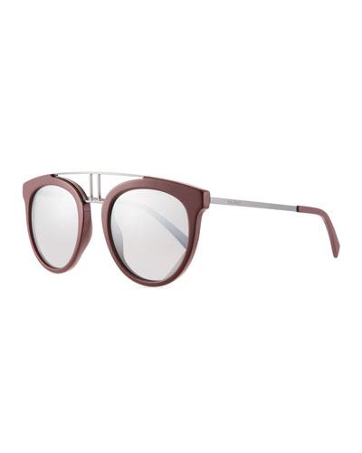 Round Mirrored Acetate & Metal Double-Bridge Sunglasses