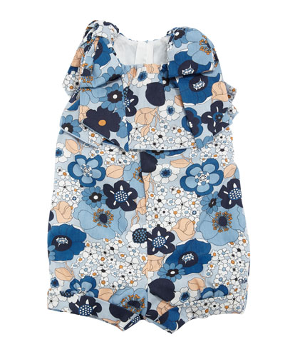 Allover Flower-Print Playsuit w/ Bow Shoulders, Size 2-3 and Matching Items
