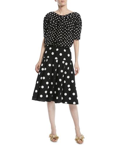 Short-Sleeve Polka-Dot Silk Top and Matching Items