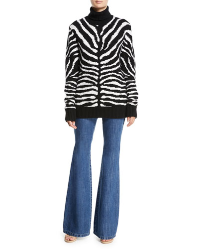 Zebra-Intarsia Cashmere Turtleneck Sweater and Matching Items