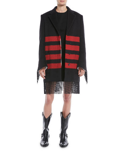 Fringed Long-Sleeve Button-Front Striped Wool-Alpaca Coat and Matching Items