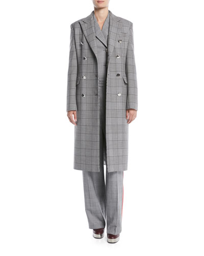 Double-Breasted Check Virgin Wool Blazer Coat and Matching Items