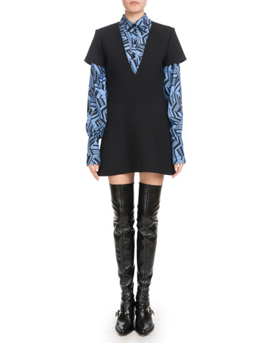 Long-Sleeve Button-Front Geometric-Print Silk Crepe de Chine Blouse and Matching Items