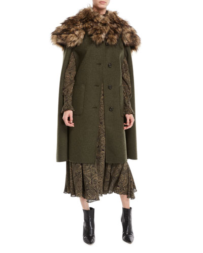 Single-Breasted Button-Front Long Wool Cape Coat and Matching Items