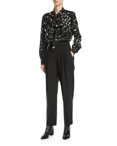 Tie-Neck Bishop-Sleeve Abstract-Print Silk Top and Matching Items