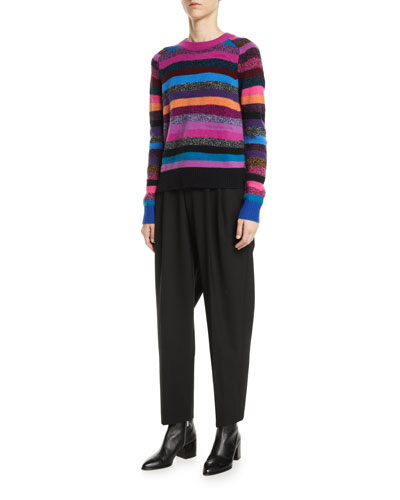 Crewneck Long-Sleeve Multicolor Striped Cashmere Sweater and Matching Items