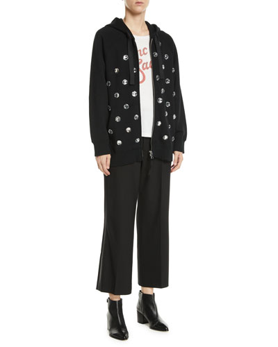 Zip-Front Hooded Embellished Jacket and Matching Items