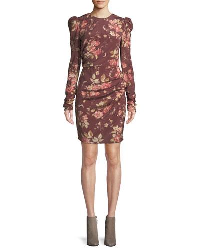 Unbridled Draped Floral-Print Mini Dress