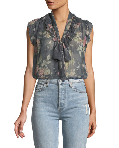 Unbridled Frill Floral Ruffle Blouse