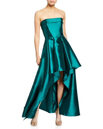 Strapless High-Low Solid Mikado Gown