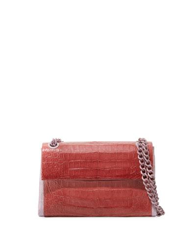 d3c5496ac335a Madison Colorblock Croc Double-Chain Shoulder Bag