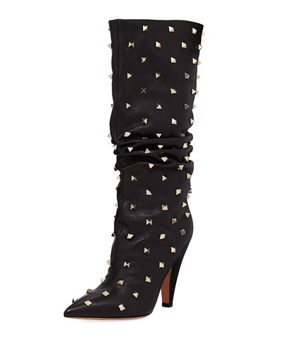 Slouchy Leather Scrunch Stud Mid-Calf Boots