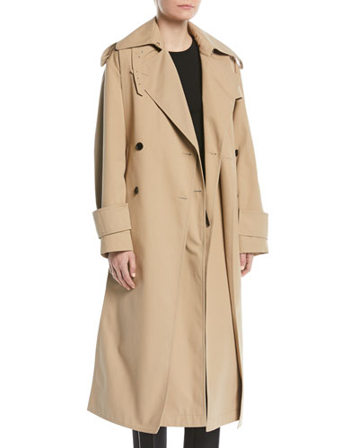 Double-Breasted Belted Mid-Calf Gabardine Trench Coat