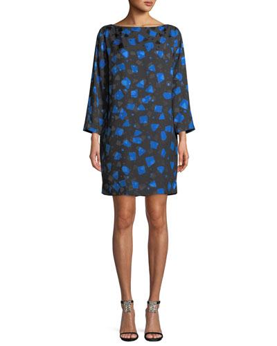 Long-Sleeve Boat-Neck Abstract-Print Shift Dress