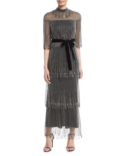 Elbow-Sleeve Tiered Beaded Fringe Cocktail Dress w/ Velvet Belt