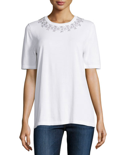 Embellished-Collar Short-Sleeve Tee, White