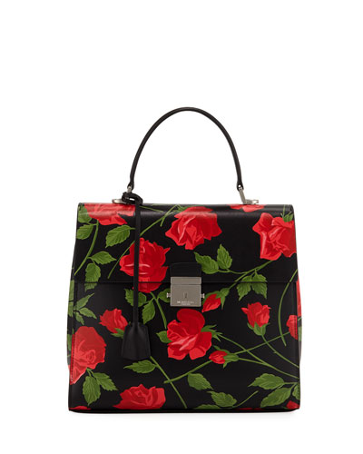Stemmed Roses Leather Top Handle Bag