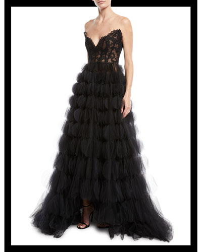 Strapless Sweetheart Lace Bustier Circle-Cutout Tulle Evening Gown