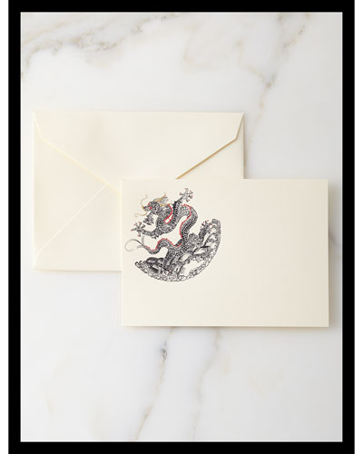 Hand-Engraved Dragon Cards with Envelopes, Set of 10