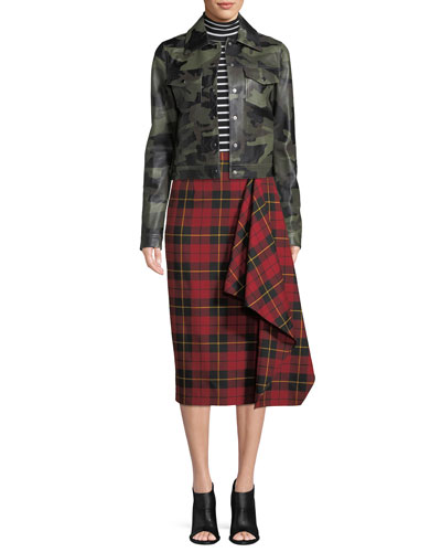 Asymmetric Plaid Virgin Wool Pencil Skirt and Matching Items