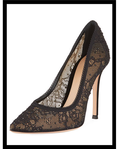 Strass and Lace Pointed Pumps