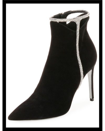 Suede Booties with Strass Detail