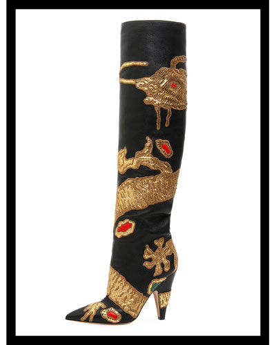 Dragon Embellished Over-The-Knee Boot
