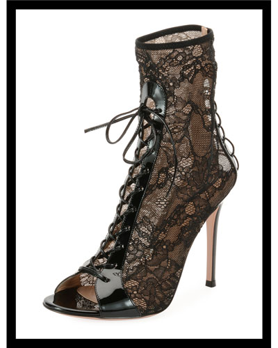 Floral-Lace Peep-Toe Booties