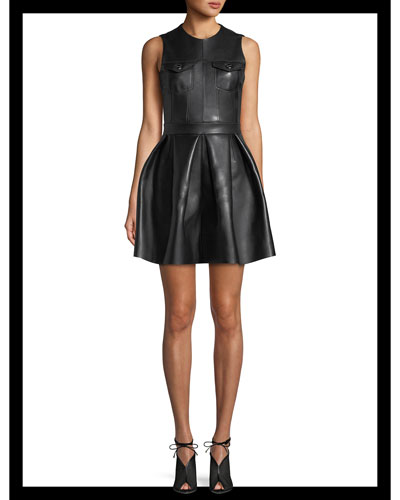 Lamb Leather Fit-and-Flare Pleated Mini Dress