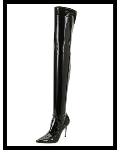 Shiny Vinyl Over-The-Knee Boots