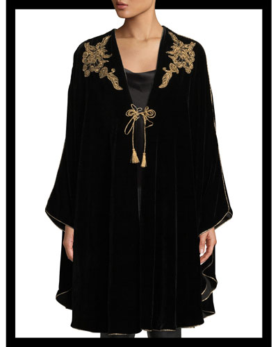 Tie-Front Golden-Embroidered Velvet Cape