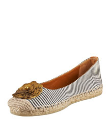 Tory Burch Striped Flower Espadrille